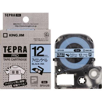 Tepra Pro Iron Tape Label, Black On White