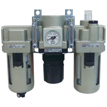 Filter + Regulator + Lubricator, With Squareuare Recessed Pressure Gauge