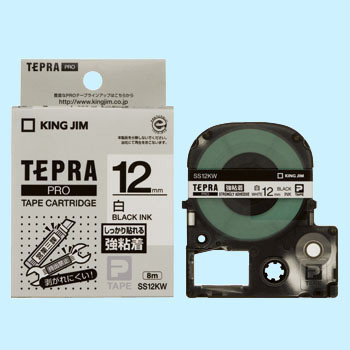 Tepra Pro Tape Strong Adhesive Label Tape, Black Characters On White Tape