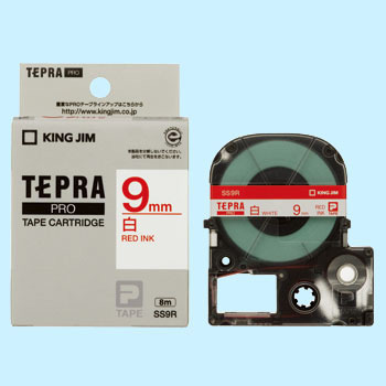 Tepra Pro Tape White Label, Red Character,