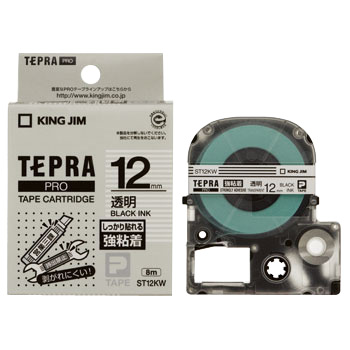 The Tepra Pro Tape It Is Strong The Adhesion Label, In Blue And Black Letters