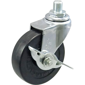 Screw Type 415A Swivel Caster, Rubber One Wheel, With Blade Latch