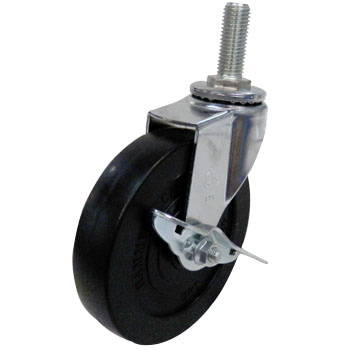 Screw Type 415EA, Swivel Caster With Stopper, Rubber Solid Wheel,