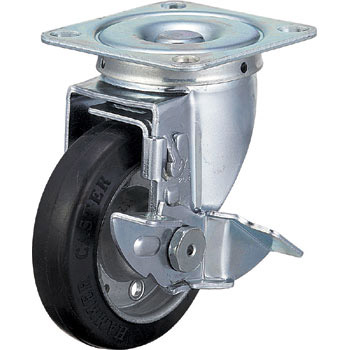 413S Swivel Caster Stopper, Steel Wheel Rubber Volume Wheel,
