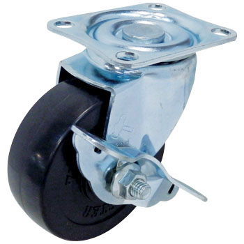 413S Swivel Caster Stopper, Rubber Wheel