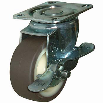 413S Swivel Caster, Nylon Wheel Urethane Rolling, With B, Wheel, With Stopper