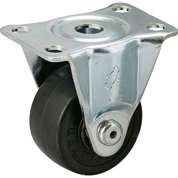 420SR Rigid Caster, Rubber Solid Wheel,