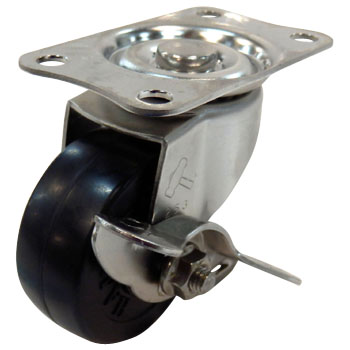 Stainless Steel 315E Swivel Caster, Rubber Solid Wheel, With A Stopper