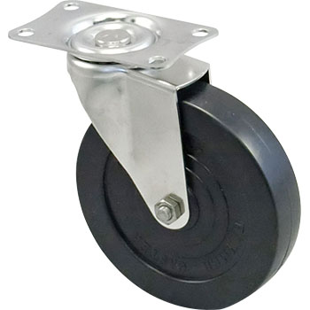 Stainless Steel 320E Swivel Caster, Rubber Solid Wheel,
