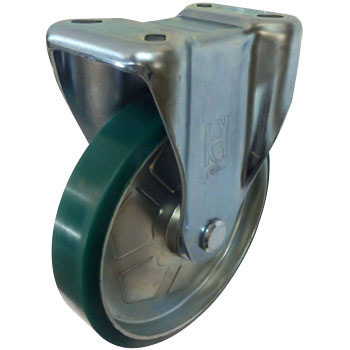 Rigid Caster Made From Press, With Bearing, Urethane Wheel