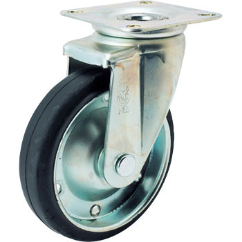 J2 Swivel Caster, Rubber Wheel And Double Bearing, Plate Type