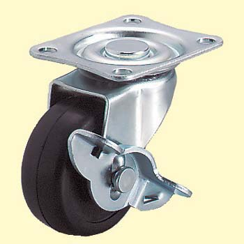 Lg Type Swivel Caster, Rubber Wheel, Double Bearing ) With Stopper