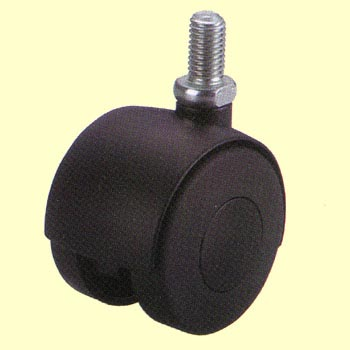 Twin Wheel Casters P Series, Threaded Stem Connector