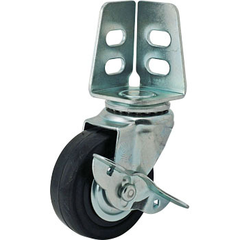 Sa Swivel Caster, Double Bearing) Angle System -W/Stopper - Hard Rubber