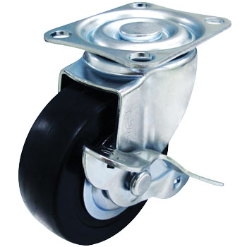 Sg Type Swivel Caster, Rubber Wheel , Double Bearing ) With Stopper