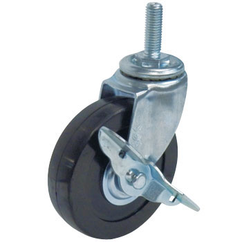 Screw Type St Swivel Caster, Double Bearing, W/Stopper, Rubber Wheel