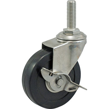 Screw Type St Swivel Caster, Double Bearing, Stopper, Rubber Wheel