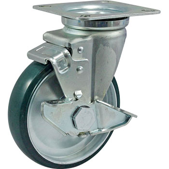JB Type Swivel Caster, Urethane Wheel, Double Bearing, with Lever Type Double Brake