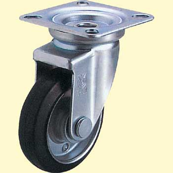 J Type Swivel Caster, Rubber Wheel Double Bearing, Plate Type
