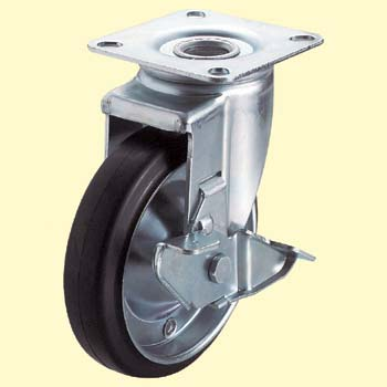 J2 Type Swivel Caster, Rubber Wheel, Double Bearing) With Stopper