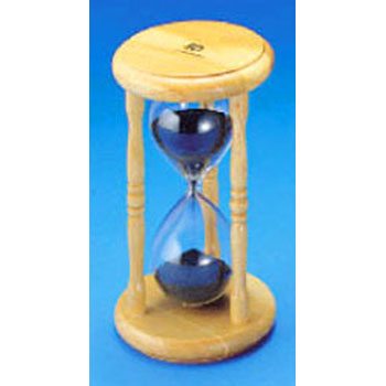 Hourglass with wood frame