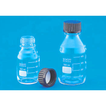 Laboratory Glass Bottle, Black Cap