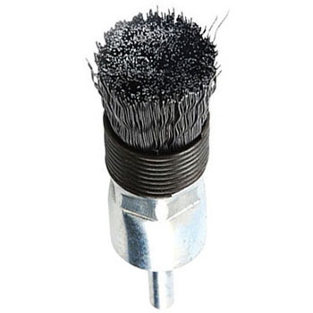 Cylindrical wire brush with attached axle