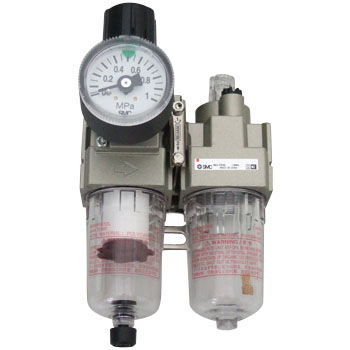 Filter Regulator + Lubricator, With A Round Shape Pressure Gauge