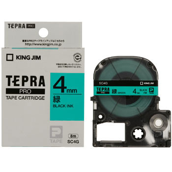 Label Cartridge, TEPRA PRO Tape Strong Adhesive Label Pastel Color, Green Label Black Character