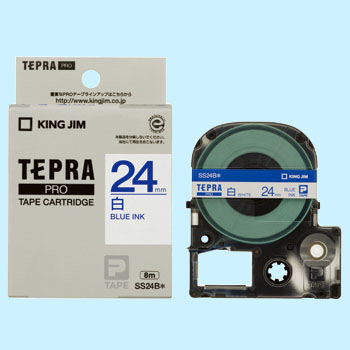 TEPRA PRO Tape, White Label, Blue Character