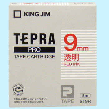 Tepra Pro Tape With Transparent Label Characters, Transparent Red,
