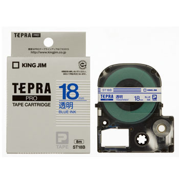 Tepra Pro Tape Transparent Label, Transparently Blue Character,