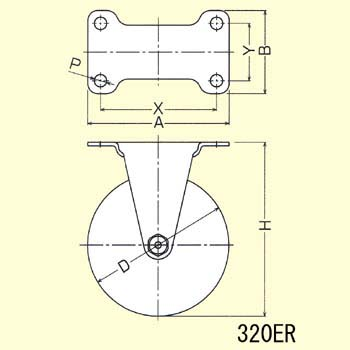 Stainless Steel 320ER Rigid Caster, Nylon Solid Wheel,