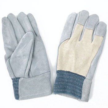 Split Leather Gloves Shell Knitted Fabric