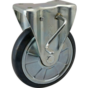 Gold Caster, Rigid Caster, Rubber Wheels, With Stopper