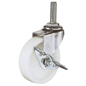 Screw Type 415EA Swivel Caster, Nylon Solid Wheel, With Stopper