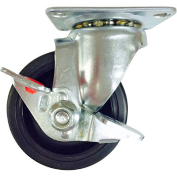 Stc Swivel Caster, Rubber Wheels, With Stopper