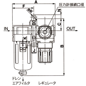 Air Filter + Regulator, With Auto Drain N.O. And A Square-Shaped Embedded Type Pressure Gauge