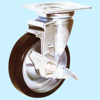 Stc Swivel Caster, Rubber Wheel, With Stopper