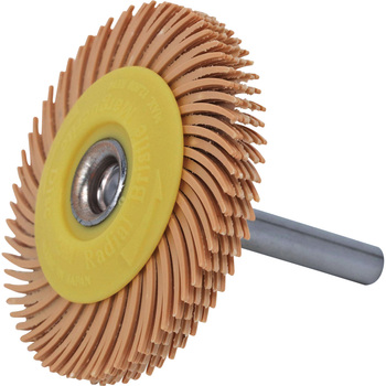 Radial bristle Marguerite disk With 50.8 mm (2 inches) of outside-diameter axis of 6 mm