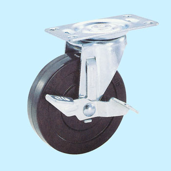 TEL Swivel Caster, Rubber Wheel, with Brake