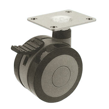 Pair Wheeled Caster T, with Stopper Urethane Wheel
