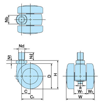 Twin Wheel Caster TY-N, Screw Type, With Stopper
