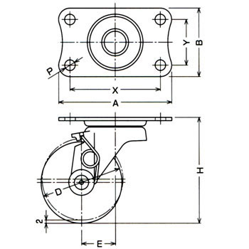 Caster with Self Brake, Plate Type, Swivel Caster