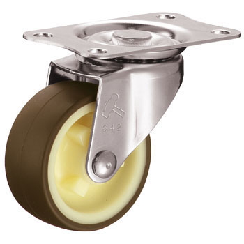 Stainless Steel 320E Swivel Caster, Nylon And Urethane Wheel