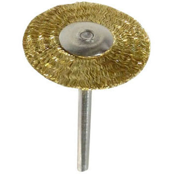 Wheel brush with miniature brass shaft