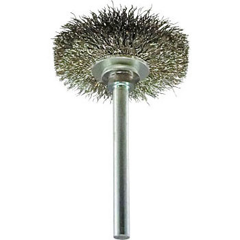 Wheel brush with miniature stainless steel shaft
