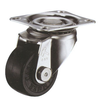 Stainless Steel 320E Swivel Caster, Rubber Solid Wheel, With A Stopper
