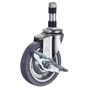 415EX Swivel Caster L Stopper, Iron Pate Wheel, Rubber Wheel
