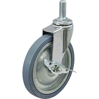 Screw Type 415EA Swivel Caster, Iron Sheet Wheel, Rubbered Wheel, with Brake